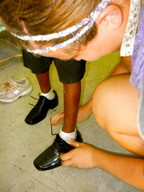 making sure the shoe fits in Preschool 2