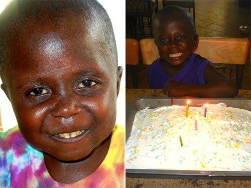first picture of Loveson when he came a year ago...and him with his first birthday cake a year later!